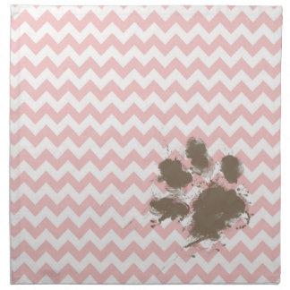 Funny Paw Print on Baby Pink, Light Pink Chevron Napkin