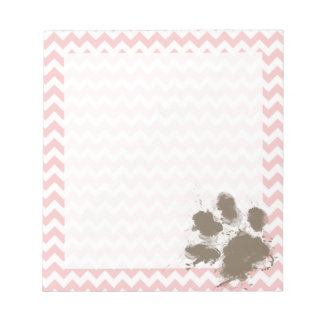 Funny Paw Print on Baby Pink, Light Pink Chevron Notepad