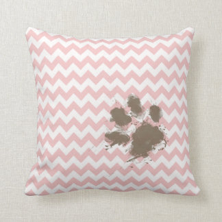 Funny Paw Print on Baby Pink, Light Pink Chevron Pillows