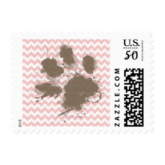 Funny Paw Print on Baby Pink, Light Pink Chevron Postage