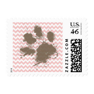 Funny Paw Print on Baby Pink, Light Pink Chevron Postage Stamp