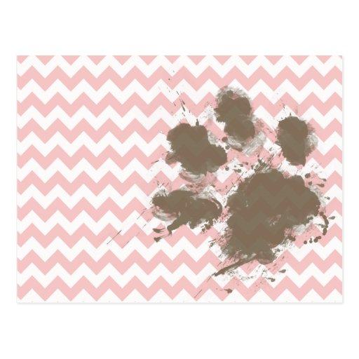 Funny Paw Print on Baby Pink, Light Pink Chevron Postcard