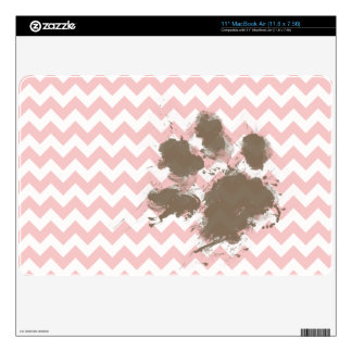 """Funny Paw Print on Baby Pink Light Pink Chevron 11"""" MacBook Air Decal"""