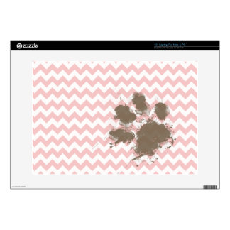 """Funny Paw Print on Baby Pink Light Pink Chevron Skin For 15"""" Laptop"""