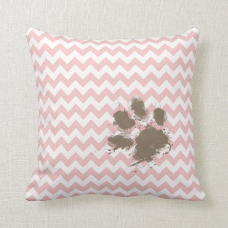 Funny Paw Print on Baby Pink, Light Pink Chevron Throw Pillow