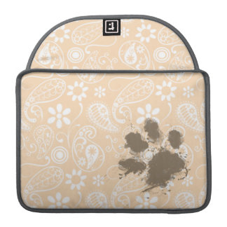 Funny Paw Print on Bisque Color Paisley; Floral MacBook Pro Sleeve