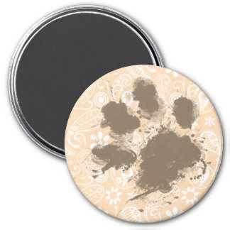 Funny Paw Print on Bisque Color Paisley Floral Magnet