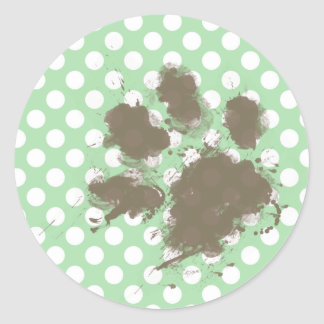 Funny Paw Print on Celadon Green Polka Dots Classic Round Sticker