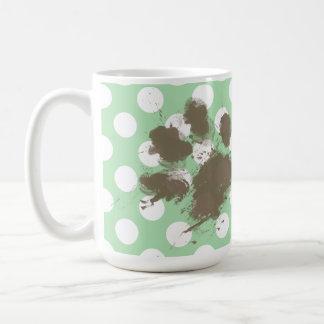 Funny Paw Print on Celadon Green Polka Dots Coffee Mug