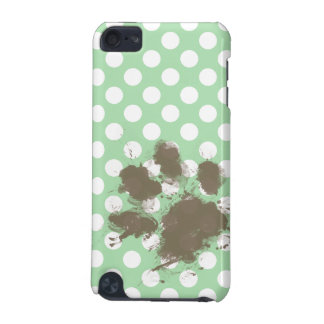 Funny Paw Print on Celadon Green Polka Dots iPod Touch 5G Cover