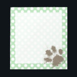 "Funny Paw Print on Celadon Green Polka Dots Notepad<br><div class=""desc"">Funny,  cute,  muddy dog paw print on a cute  Celadon Green Polka Dots pattern for doggy lovers!  This is a great gift for pet dog / puppy owners!</div>"