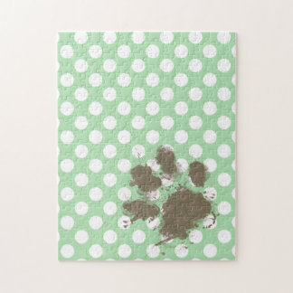 Funny Paw Print on Celadon Green Polka Dots Puzzle