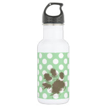 Funny Paw Print on Celadon Green Polka Dots Water Bottle