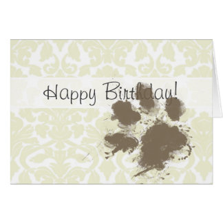 Funny Paw Print on Ivory Damask Pattern Card