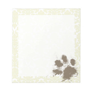 Funny Paw Print on Ivory Damask Pattern Notepad