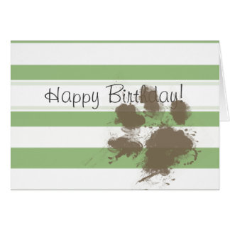 Funny Paw print on Laurel Green Horizontal Stripes Card