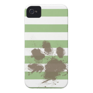 Funny Paw print on Laurel Green Horizontal Stripes Case-Mate iPhone 4 Cases