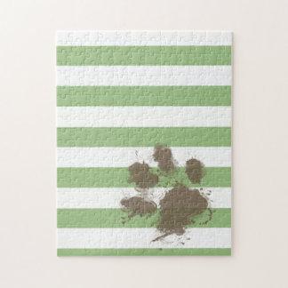 Funny Paw print on Laurel Green Horizontal Stripes Jigsaw Puzzles