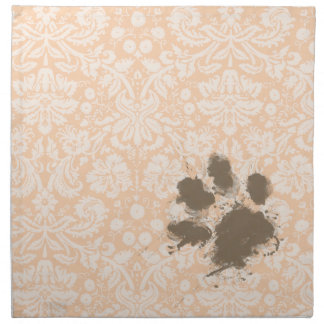 Funny Paw Print on Light Apricot, Peach Damask Cloth Napkin