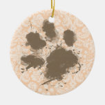 Funny Paw Print on Light Apricot, Peach Damask Double-Sided Ceramic Round Christmas Ornament
