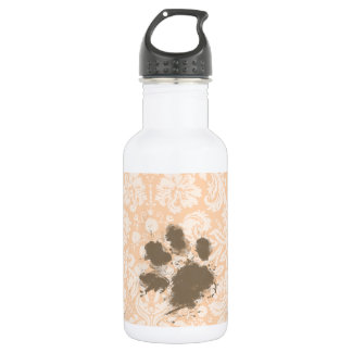 Funny Paw Print on Light Apricot, Peach Damask Water Bottle