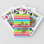 Funny Paw Print on Neon Stripes Card Decks