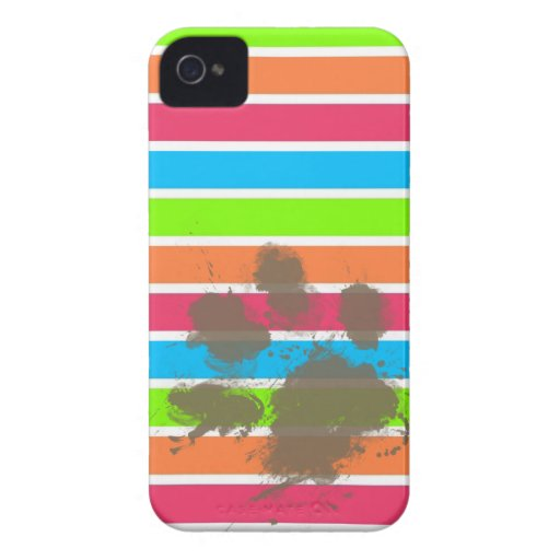 Funny Paw Print on Neon Stripes Case-Mate iPhone 4 Cases