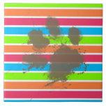 Funny Paw Print on Neon Stripes Ceramic Tile
