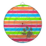 Funny Paw Print on Neon Stripes Dart Boards