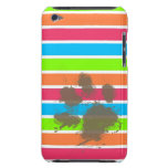 Funny Paw Print on Neon Stripes iPod Touch Cover