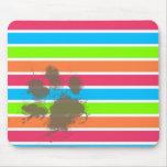 Funny Paw Print on Neon Stripes Mousepad