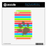 Funny Paw Print on Neon Stripes Decal For iPod Touch 4G