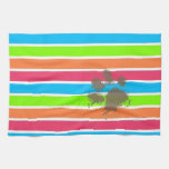 Funny Paw Print on Neon Stripes Towels
