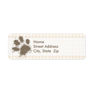 Funny Pawprint; Antique White Houndstooth Label