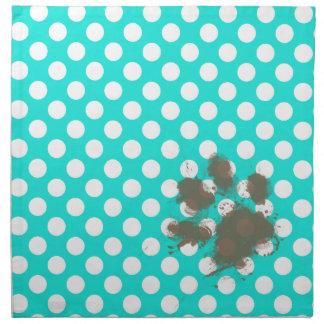 Funny Pawprint; Aqua Color Polka Dots Cloth Napkin