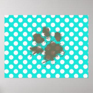 Funny Pawprint; Aqua Color Polka Dots Posters