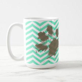 Funny Pawprint on Aquamarine Chevron Coffee Mug