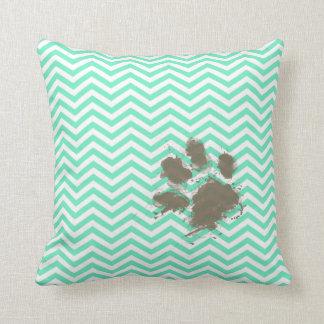 Funny Pawprint on Aquamarine Chevron Pillow