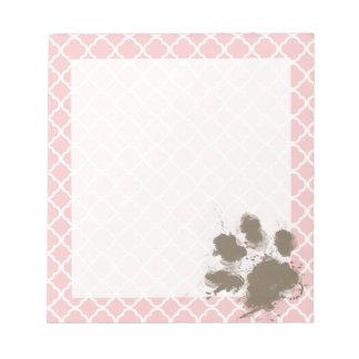 Funny PawPrint on Baby Pink Quatrefoil Memo Pads