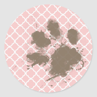 Funny PawPrint on Baby Pink Quatrefoil Round Stickers