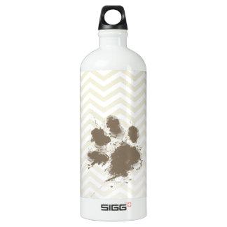Funny Pawprint on Beige Chevron; zig zag Aluminum Water Bottle