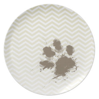 Funny Pawprint on Beige Chevron; zig zag Dinner Plate