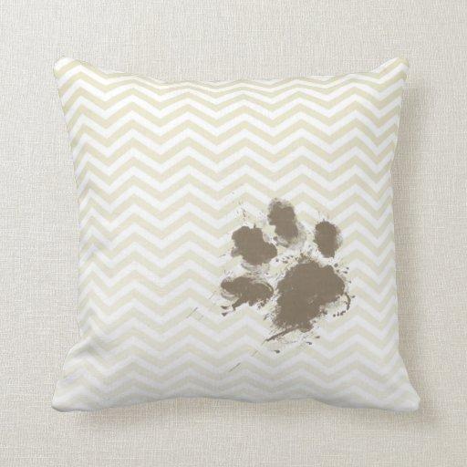 Funny Pawprint on Beige Chevron; zig zag Throw Pillow Zazzle