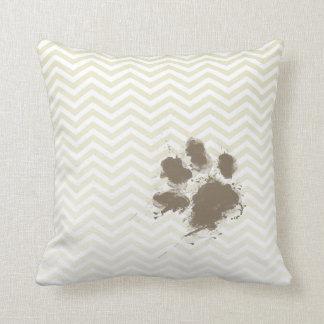Funny Pawprint on Beige Chevron; zig zag Throw Pillow