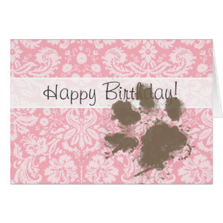 Funny Pawprint on Bubble Gum Pink Damask Card