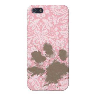 Funny Pawprint on Bubble Gum Pink Damask Case For iPhone SE/5/5s