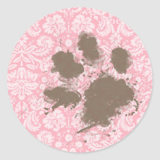 Funny Pawprint on Bubble Gum Pink Damask Classic Round Sticker