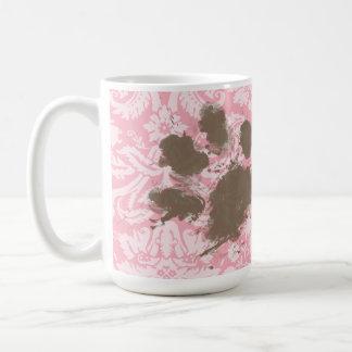 Funny Pawprint on Bubble Gum Pink Damask Coffee Mug