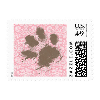 Funny Pawprint on Bubble Gum Pink Damask Postage Stamp