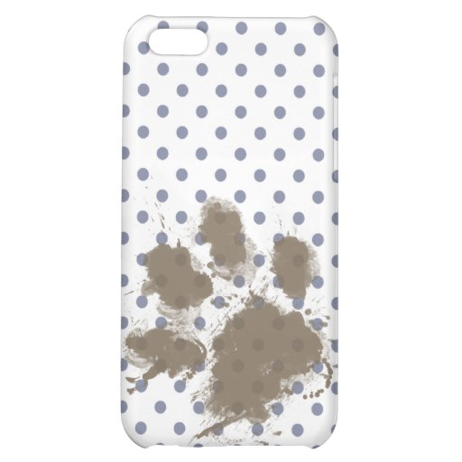Funny Pawprint on Cool Grey Polka Dots iPhone 5C Cases